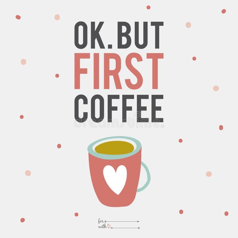 Illustrationkopp kaffe med gulligt motivational stock illustrationer