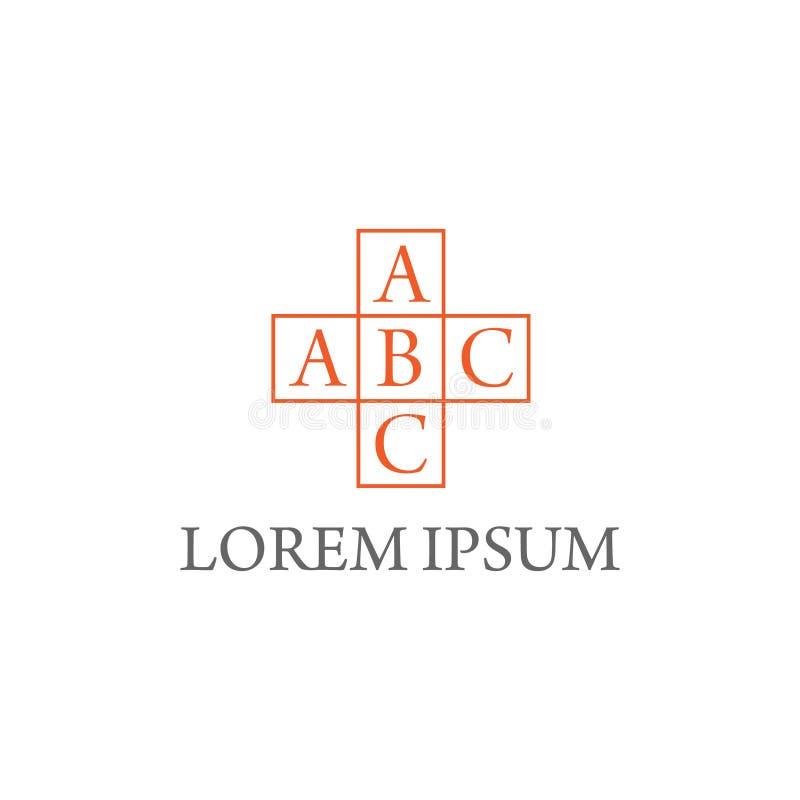 illustrationkors och design för bokstavssymbolslogo vektor illustrationer