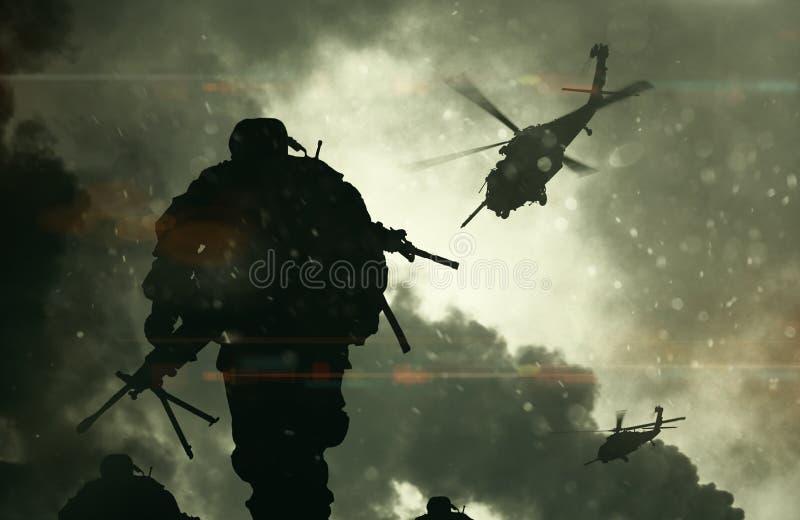 Illustrationkrigsmakter & helikoptrar mellan rök stock illustrationer