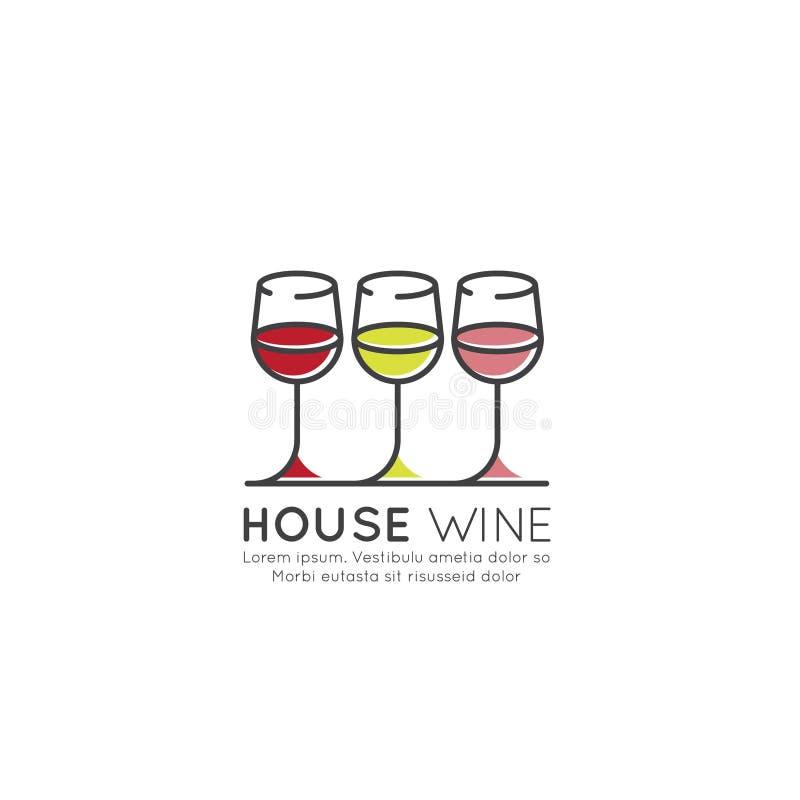 Illustrationlogo av vinodlingen eller vinstång eller restaurang, drink för bild för menylista röd, rosa och vit, i vinglas stock illustrationer