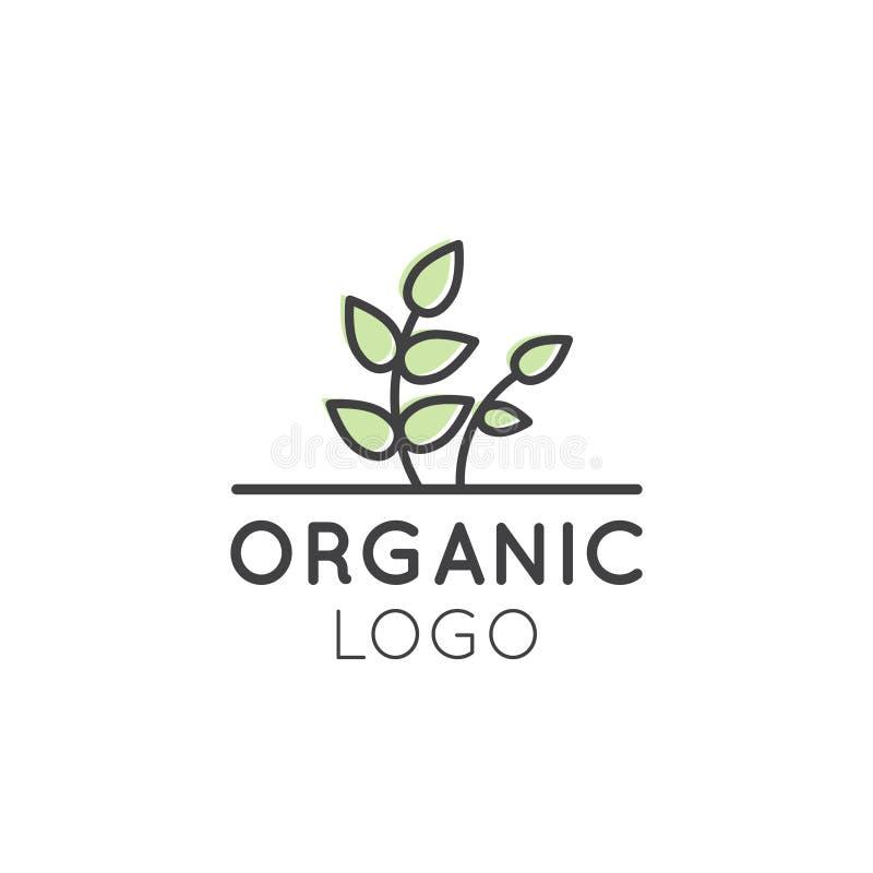 Illustrationlogoen för den sunda organiska strikt vegetarian shoppar eller lagrar stock illustrationer