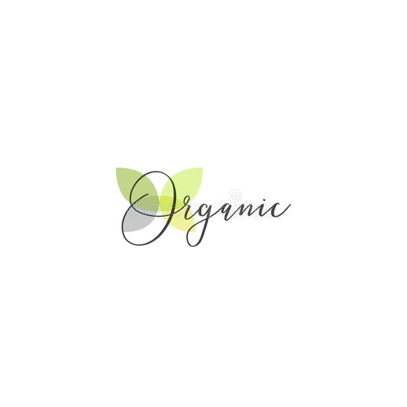 Illustrationlogoen för den sunda organiska strikt vegetarian shoppar eller lagret, BIO och ECO-produkttecknet, grön växt med blad royaltyfri illustrationer
