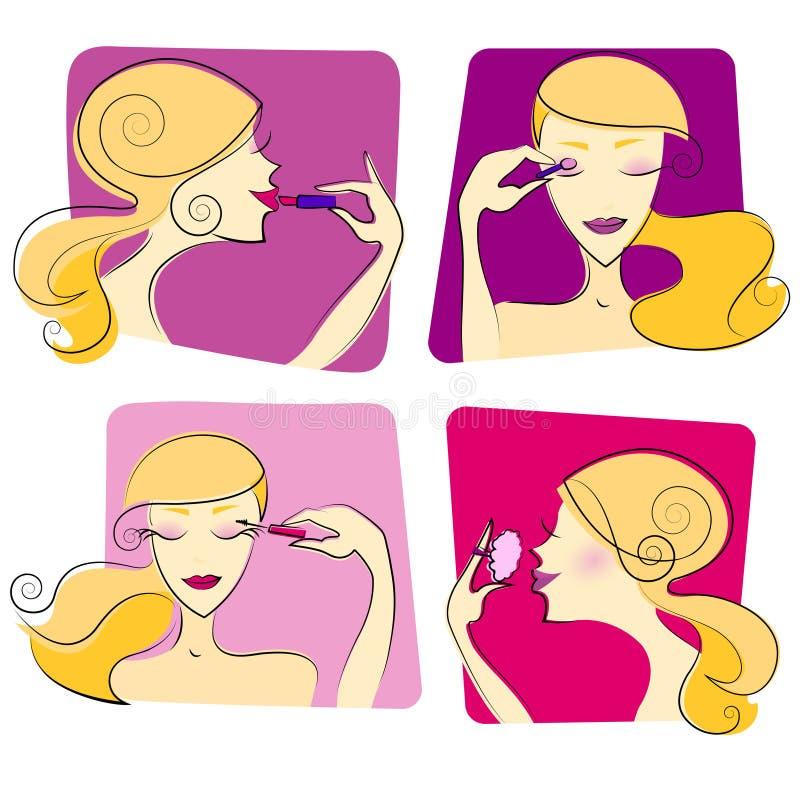 illustrationmakeupkvinna royaltyfri illustrationer