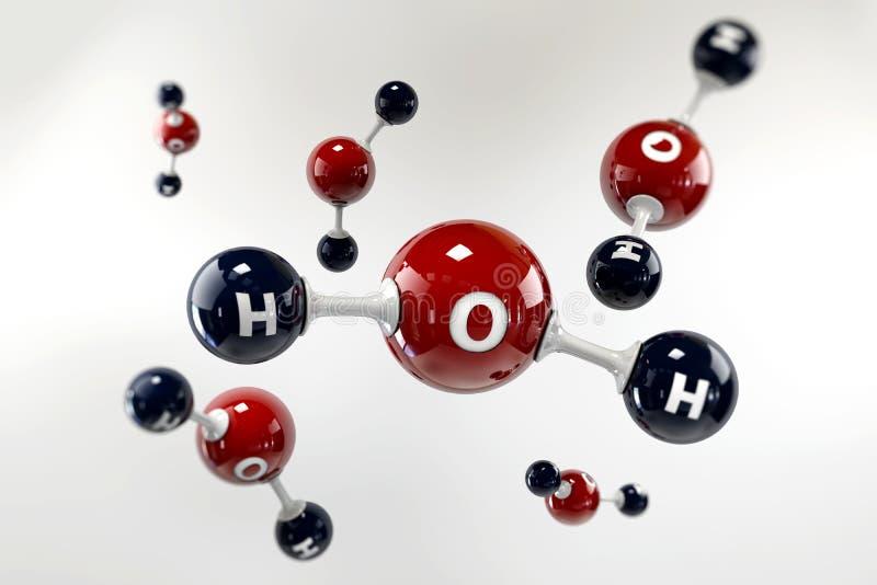 Illustrationmolekyl av vatten på en grå bakgrund stock illustrationer