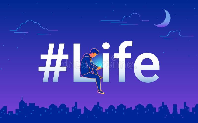 Illustrationn de vecteur de concept de gradient de la vie de Hashtag du jeune homme à l'aide du smartphone se reposant la vie de  illustration libre de droits