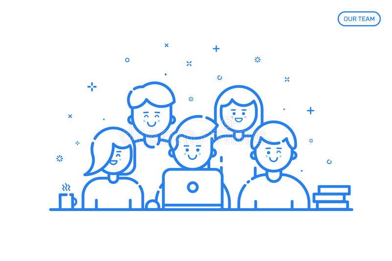 Illustrationof banner in flat line style. Concept of our team for website and mobile website. Business cute and fun people teamwork isolated in blue outline vector illustration