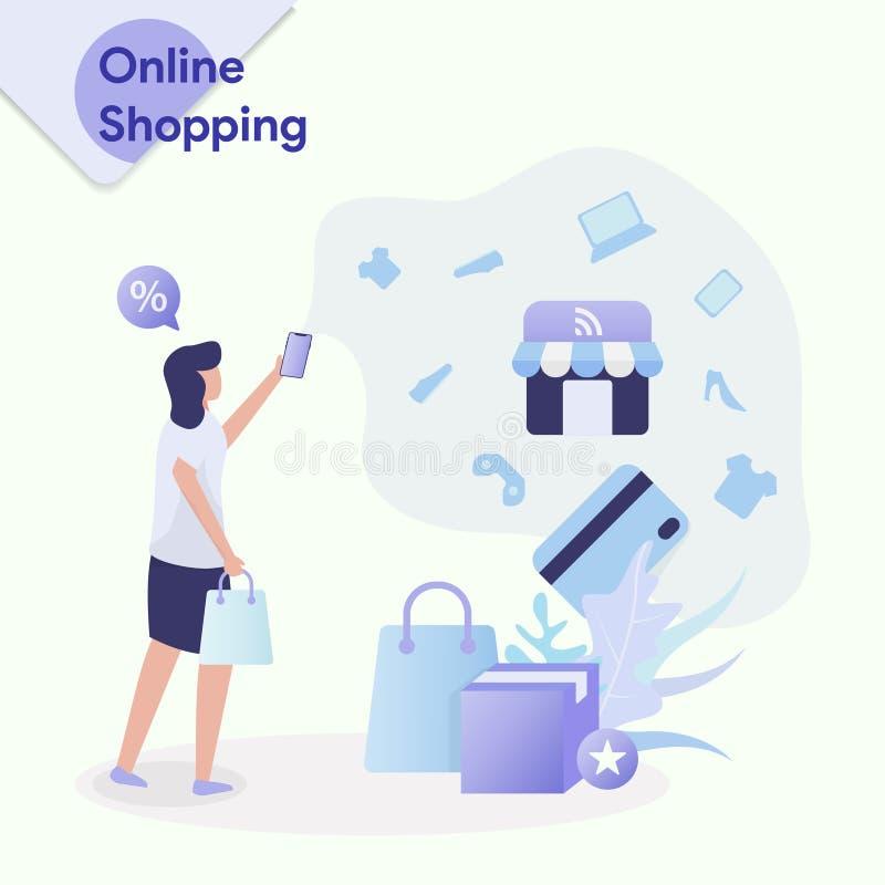 Illustrationonline-shopping vektor illustrationer