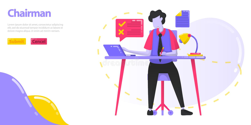 Illustrationordförande vd:n som arbetar på skrivbordet Män som klarar av arbetet och operationerna av företaget Plan vektor stock illustrationer