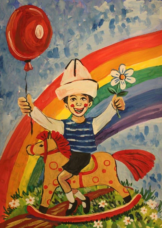 Illustrationpojkehästrygg och regnbåge royaltyfri illustrationer