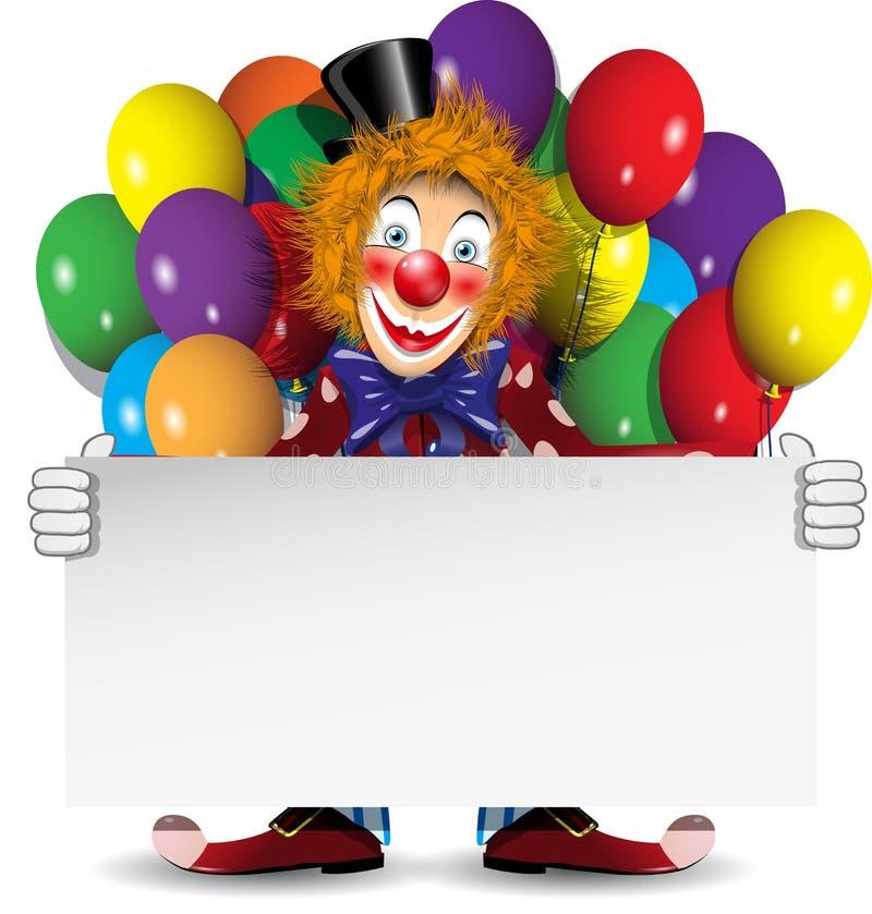 Redheadclown med ett baner och ballonger stock illustrationer