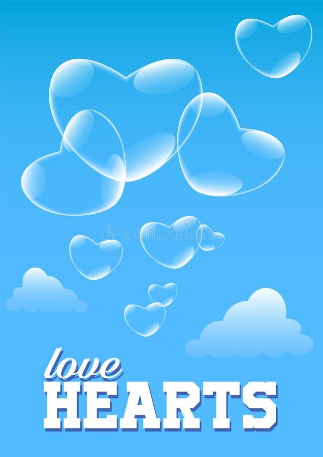 Illustrationsåpbubblor i formen av hjärtor som flyger i himlen vektor illustrationer