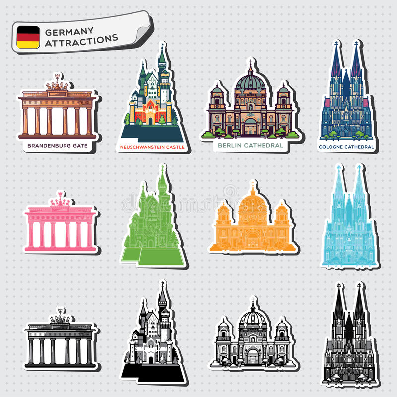 Illustrations abstraites des attractions de l'Allemagne photographie stock libre de droits
