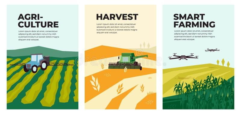 Illustrations of agriculture, harvest, smart farming vector illustration