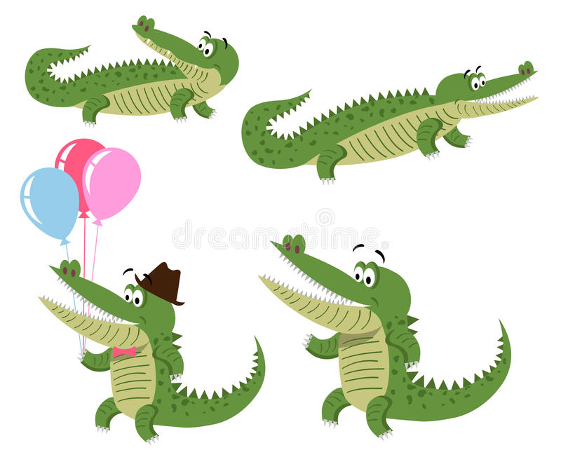Illustrations amicales de crocodiles de bande dessinée réglées illustration libre de droits