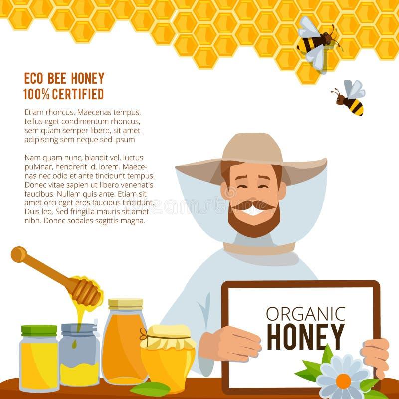 Illustrations au thème de l'apiculture Calibre de vecteur d'affiche illustration stock