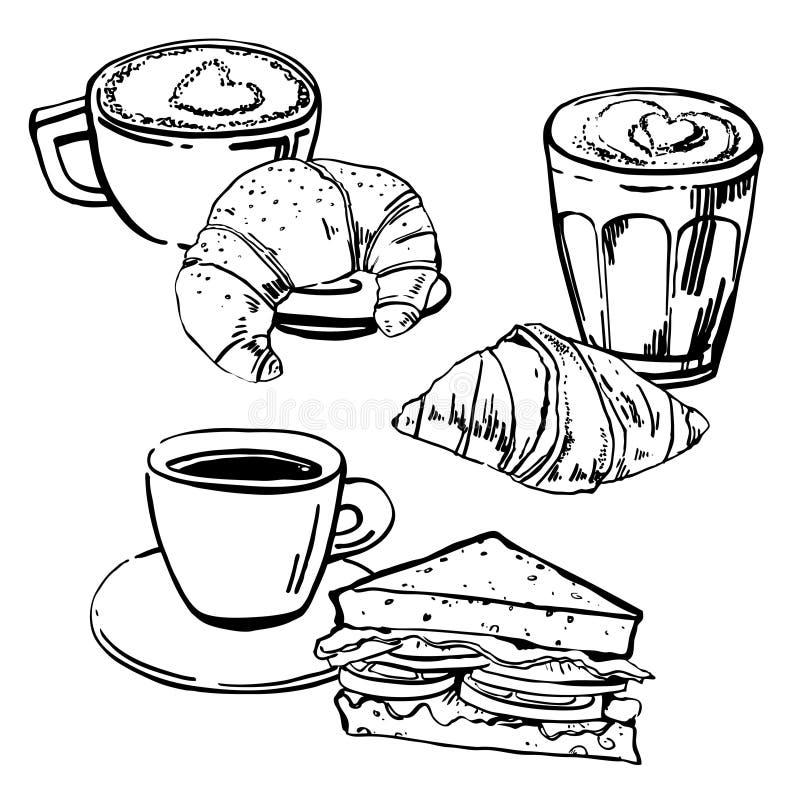 Illustrations avec des sandwichs, des croissants et des tasses de café Ensemble tiré par la main de vecteur de croquis d'ensemble illustration stock