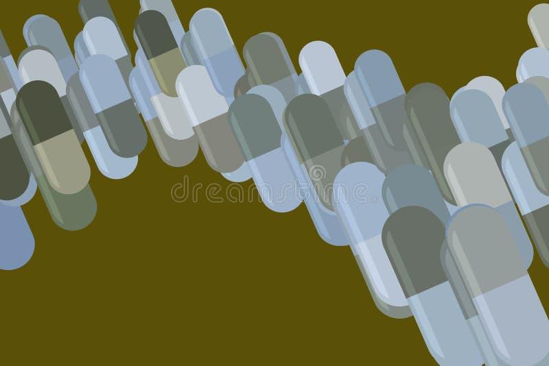 Illustrations of capsules, medicine or pills. Abstract, antioxidant, drawing & virus. Illustrations of capsules, medicine or pills. Good for web page, wallpaper vector illustration