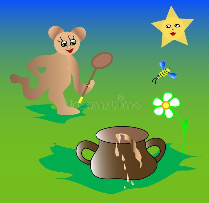 Illustrations Cartoon bear, bee and honey stock illustration