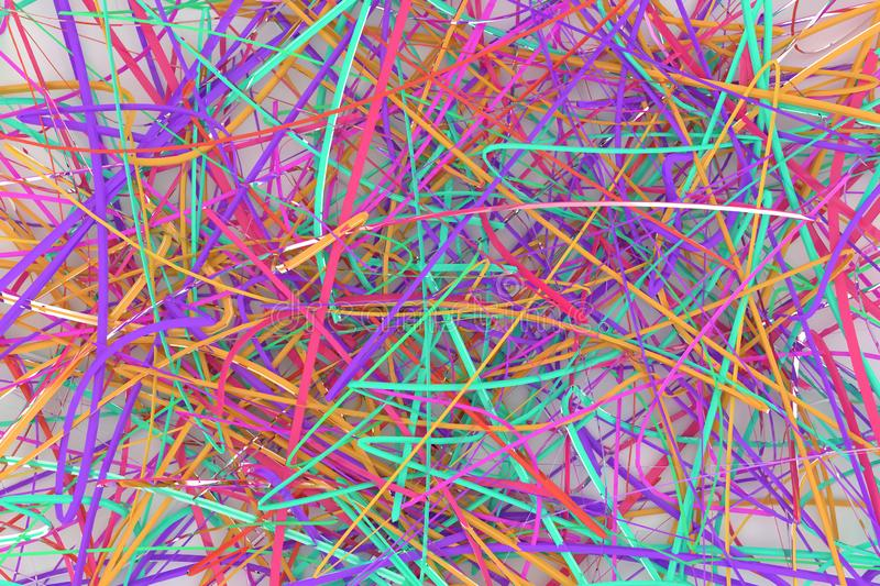 Illustrations of CGI composition, messy strings, virtual backdrop for graphic design or wallpapers. 3D render. Messy strings virtual backdrop, illustrations of stock image