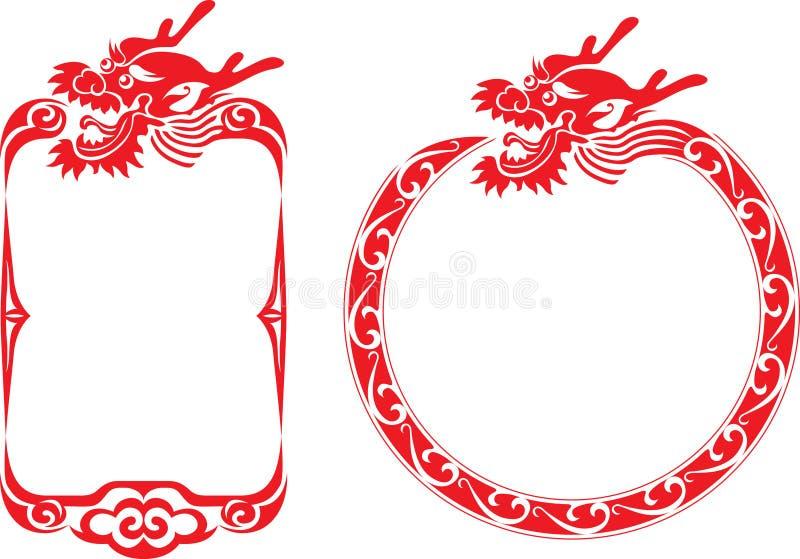 Illustrations chinoises de cadre de dragon illustration stock