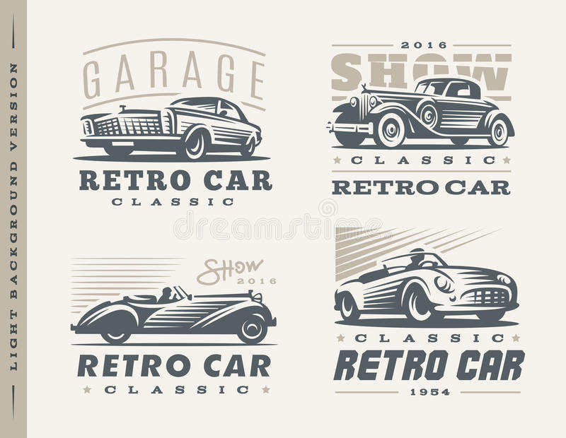 Illustrations classiques de voitures sur le fond clair illustration stock