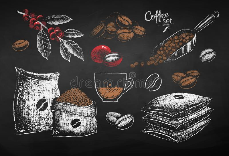 Illustrations of coffee beans sack and leaves. Vector red, white and brown chalk drawn set of illustrations of coffee beans, sack and leaves on chalkboard stock illustration