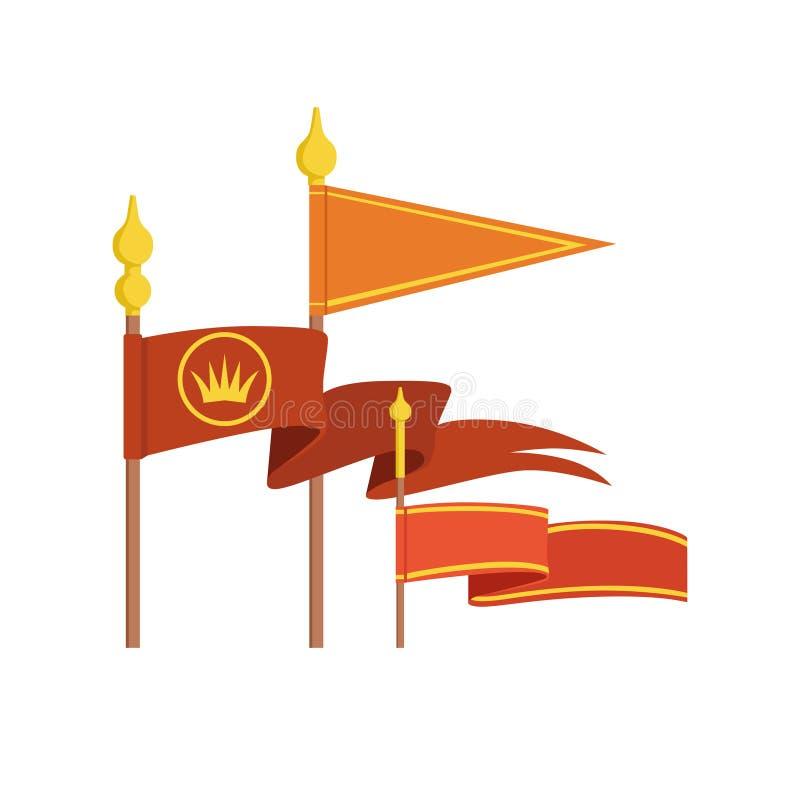 Illustrations colorées réglées de vecteur de drapeau royal médiéval illustration de vecteur