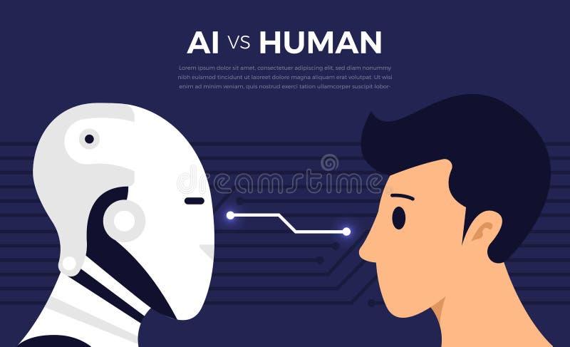 AI vs HUMAN. Illustrations concept of AI artificial intelligence vs human via robot and people. Vector illustrate stock illustration