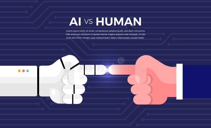 AI vs HUMAN. Illustrations concept of AI artificial intelligence vs human via robot and people. Vector illustrate royalty free illustration
