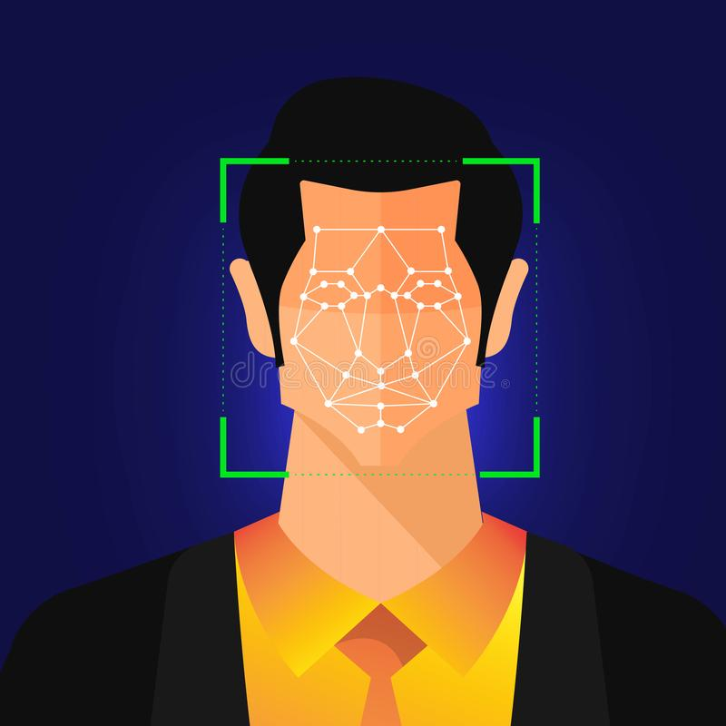 Facial recognition technology. Illustrations concept facial recognition technology present with portrait closeup to face of human for scan. Design for banner royalty free illustration
