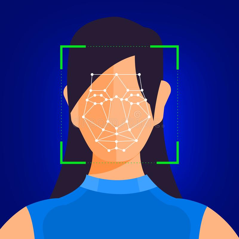 Facial recognition technology. Illustrations concept facial recognition technology present with portrait closeup to face of human for scan. Design for banner vector illustration