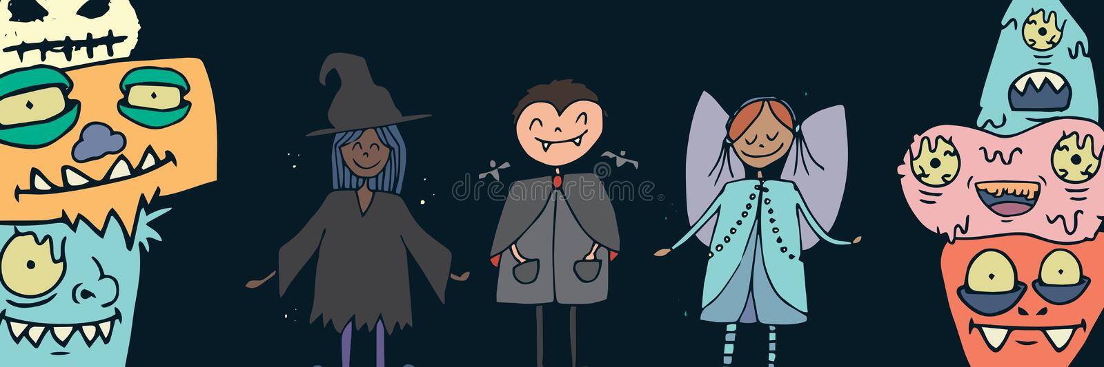 Illustrations d'enfants et de monstres de costume de Halloween illustration libre de droits