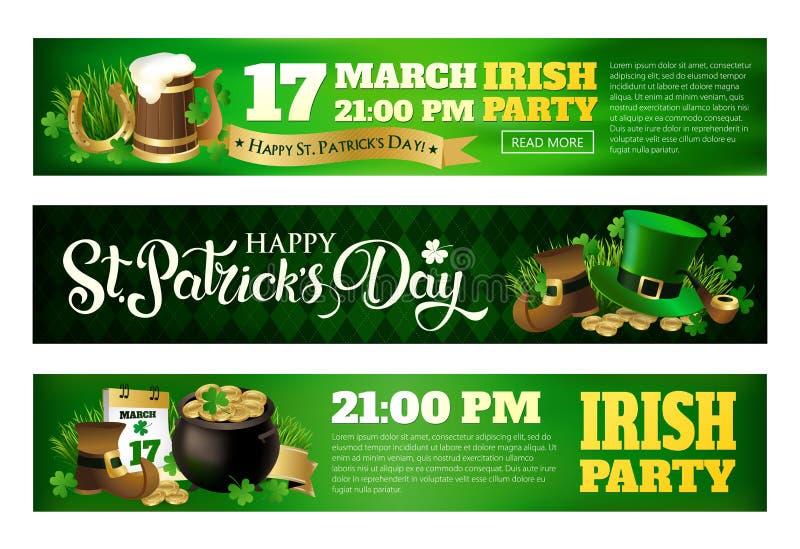Illustrations de bannière pour célébrer le jour du ` s de St Patrick illustration libre de droits