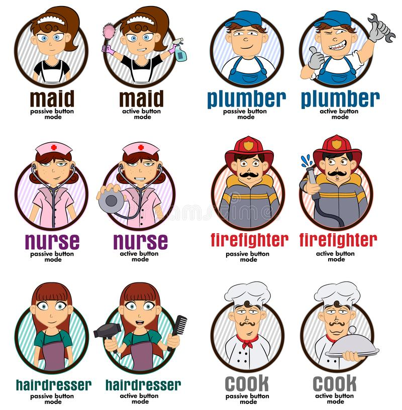Illustrations de boutons de Web de professions avec 2 modes : domestique, plombier, infirmière, sapeur-pompier, coiffeur, cuisini illustration libre de droits