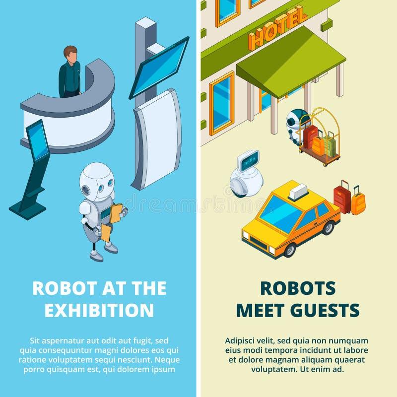 Illustrations de concept avec de divers robots auxiliaires illustration libre de droits