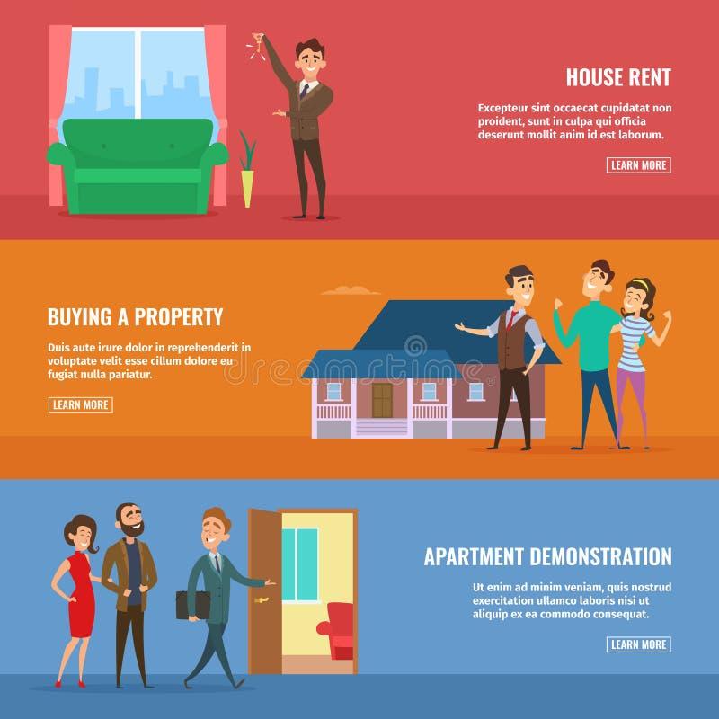 Illustrations de concept d'affaires réglées Vrais agents immobiliers vendant différents bâtiments aux couples heureux de famille illustration stock