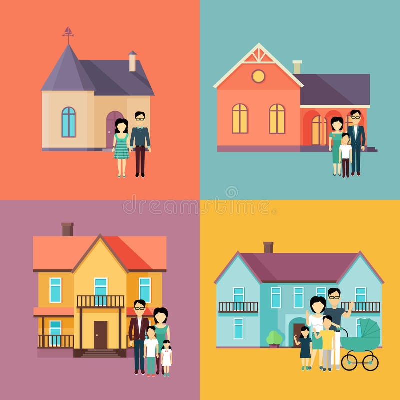 Illustrations de concept de Real Estate dans la conception plate illustration stock
