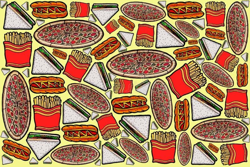 Illustrations de conception de modèle d'aliments de préparation rapide image stock
