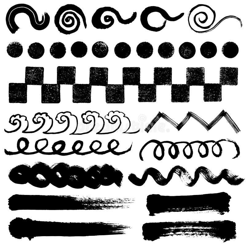 Illustrations de course de brosse. formes manuscrites. illustration de vecteur