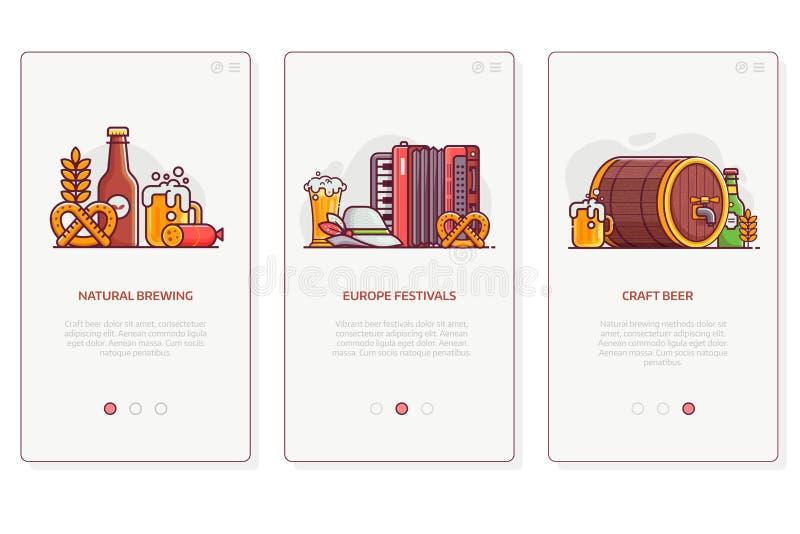 Illustrations de festival et du brassage UI de bière illustration libre de droits