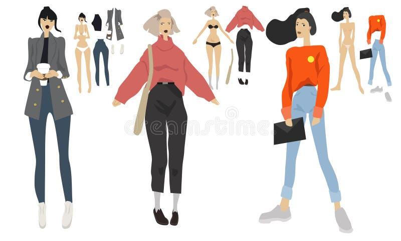 illustrations de fille de mode réglées, des sous-vêtements au survêtement, style, adolescent, regard, maquillage à la mode illustration de vecteur