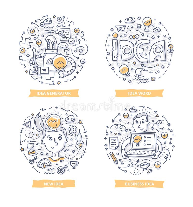 Illustrations de griffonnage d'idée illustration stock
