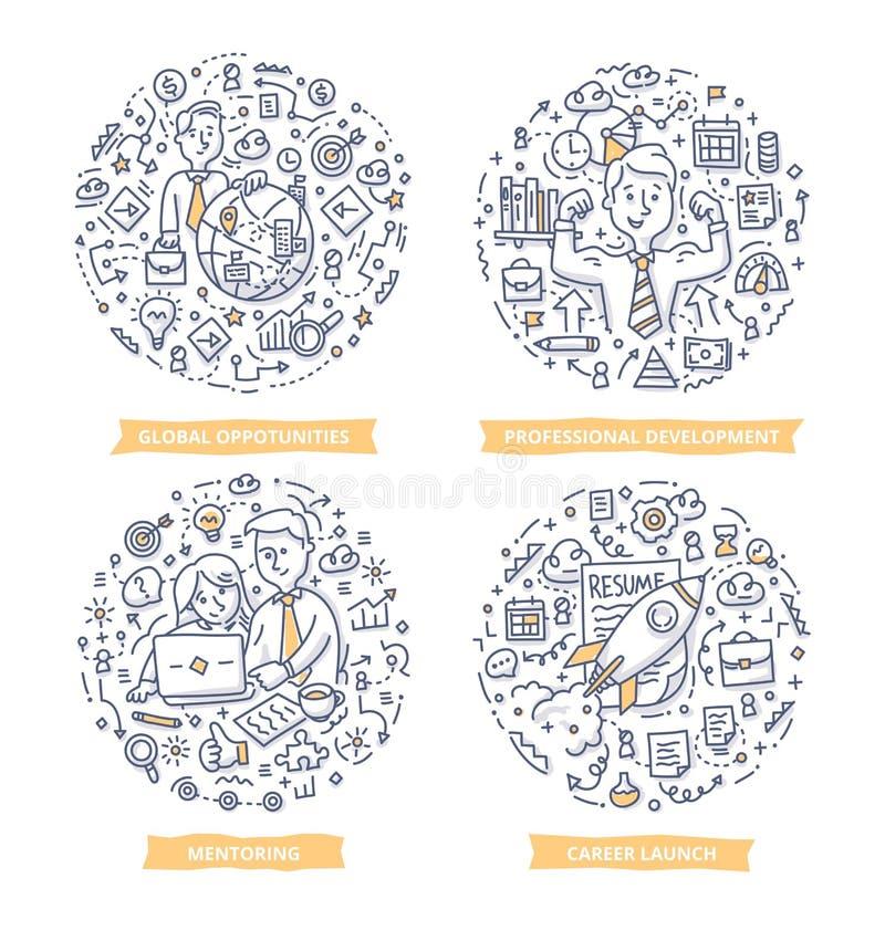 Illustrations de griffonnage de carrière et de direction illustration libre de droits