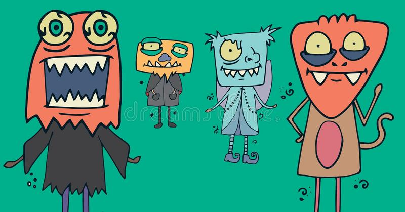 Illustrations de monstre dans des costumes de Halloween illustration libre de droits