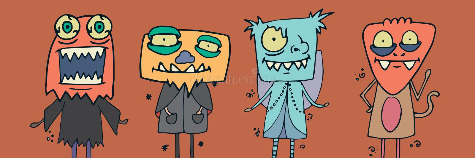 Illustrations de monstre dans des costumes de Halloween illustration stock