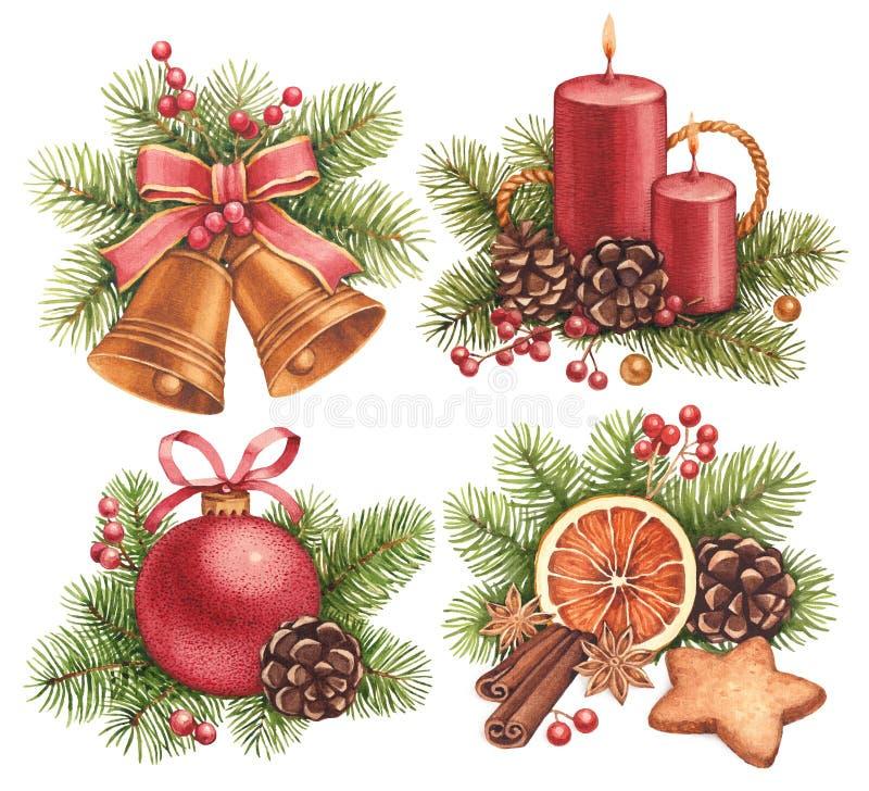 Illustrations de Noël d'aquarelle illustration de vecteur