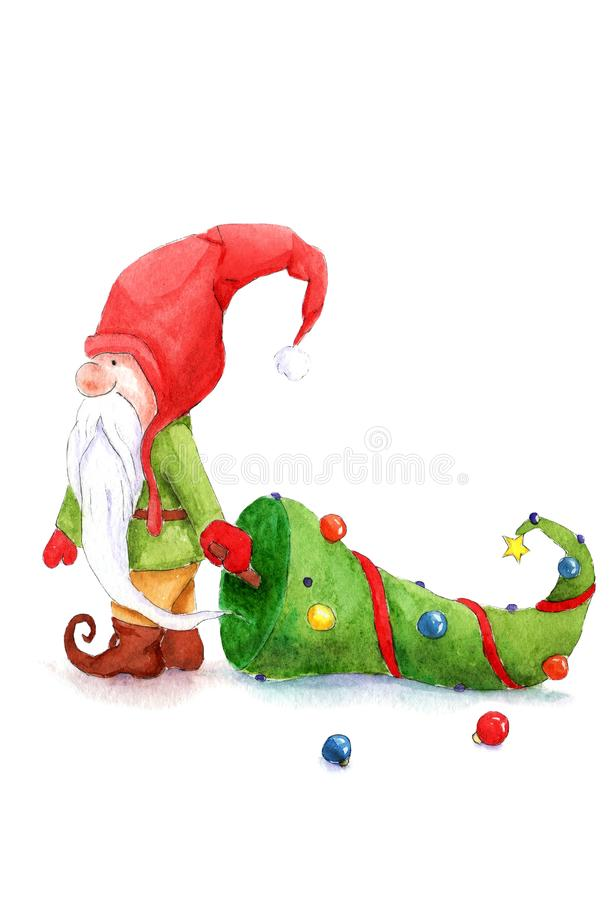 Illustrations de Noël d'aquarelle : gnome avec un arbre de Noël illustration stock