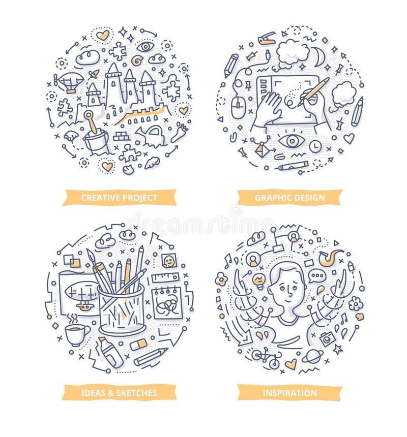 Illustrations de processus créatives de griffonnage illustration de vecteur