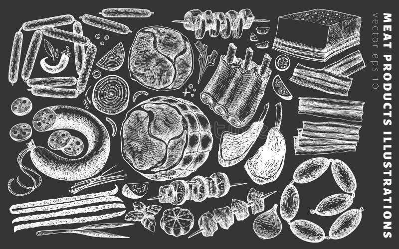Illustrations de produits carnés de vecteur de cru sur le panneau de craie Jambon, saucisses, jamon, bifteck de viande, épices et illustration stock