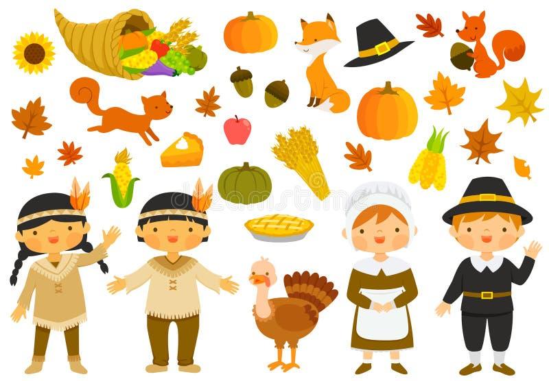 Illustrations de thanksgiving réglées illustration stock
